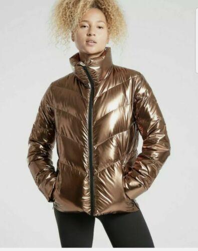 ATHLETA Lofty Metallic Down Jacket Bronze Puffer C