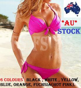 3767487e10c6d SEXY WOMEN BANDAGE TRIANGLE BIKINI SET PUSH UP BRA PADDED BEACH ...