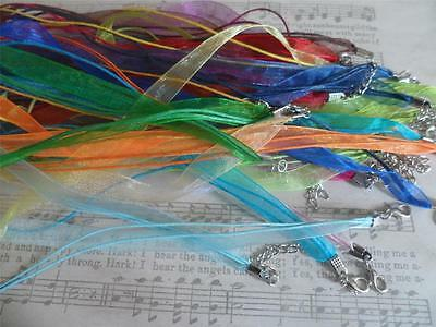 """10 x 18"""" Organza & Cord Necklaces for Pendants,~Jewellery Making handmade"""