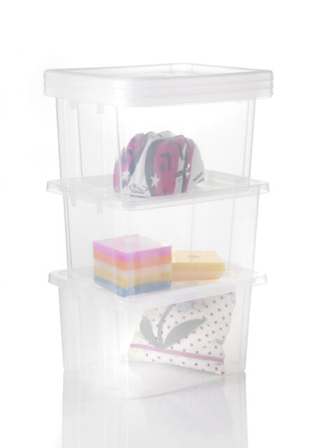 stapelbox 17 liter mit deckel transparent. Black Bedroom Furniture Sets. Home Design Ideas