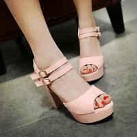 Womens Ladies Chunky Block High Heel Open Toe Club Party Sandals Court Shoes