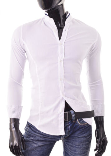 Mens White Casual Band Collar Shirt  Slim Fit Cotton Contrast Cuffs X-SMALL