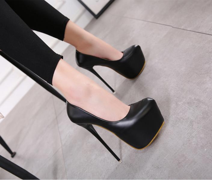 Korean Style Very High Heel Pumps Round Toe Princess Platform Slip On Stilettos