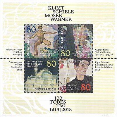 Block 101** Österreich Mi.nr Postfrisch/klimt-schiele-moser-wagner 2018