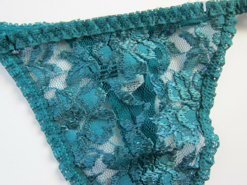 6b4d082ba797 2 of 5 NWOT Unbranded VINTAGE High Cut Green Lace String Thong Panties ONE  SIZE