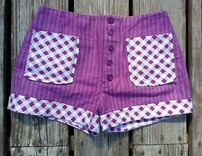 Vintage 80s Op art and floral Indian viscose culotte shorts S