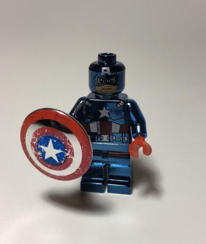 Custom Chrome Blue Captain America Minifigure Cilvil War Building Blocks
