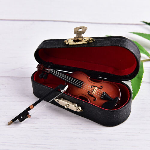 Mini Violin Miniature Musical Instrument Wooden Model with Support and Case 0U