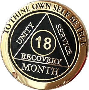 18 Month AA Medallion Elegant Black Gold /& Silver Plated Sobriety Chip Coin