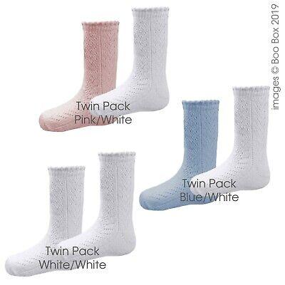 Pex Girls 2 Pack White Pink Mid-Calf Pelerine Flower Cotton Socks 0-24 Months