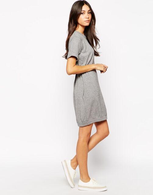 Shae  Exclusive Grey Cotton Cashmere Splatter Jumper Knit Tennis Dress XS 8 36