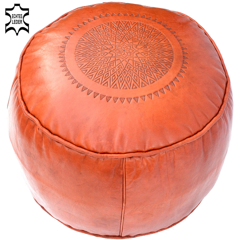 Orientale CUSCINI IN PELLE REAL LEATHER Cushion handmade Stool POUF lsr6