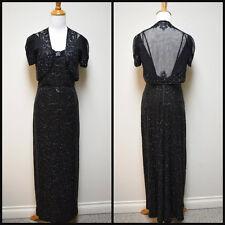 VTG 1930s MILGRIM Custom Hollywood Glamour Beaded Evening Gown w Bolero Jacket