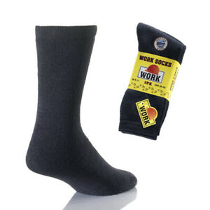 6 Pairs Mens Black Thermal Work Boot Socks Size 6-11