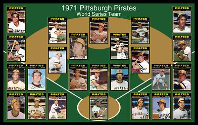 1971 PITTSBURGH PIRATES Poster Decor Gift 1971 World Series Team 17 x 11 Baseball Card Custom Birthday Gift Fan Gift Man Cave Decor Art