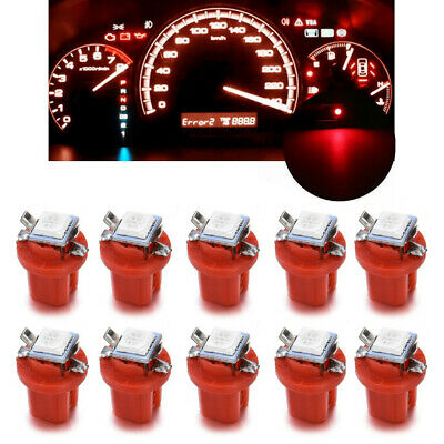 10x Car Auto T5 B8.5D Gauge 5050 1SMD LED Speedo Dashboard Side Light Bulb Lamp
