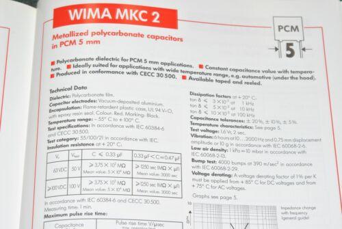 63V 20/% pich:5mm Capacitor 0.027µF 0,027uF 27nF WIMA MKC2 0.027uF 10pcs