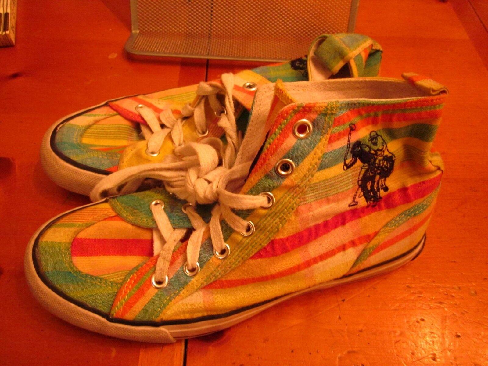 US Polo Association logo rainbow pride canvas shoes size size size 7.5 punk-rock stripes 7d72ba