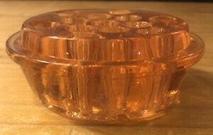 Vintage Pink Depression Glass 13 Hole Floral Flower Frog ...