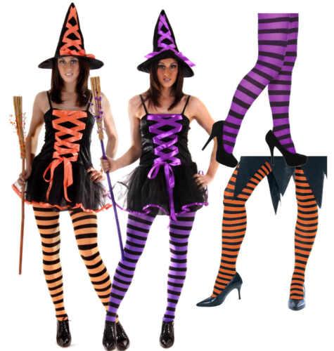 Orange Purple Ladies Witch Halloween Fancy Dress Costume Striped Stripy Tights