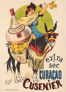 Affiche-Originale-Gros-E-Curacao-Cusenier-Ane-Orange-Liqueur-1899