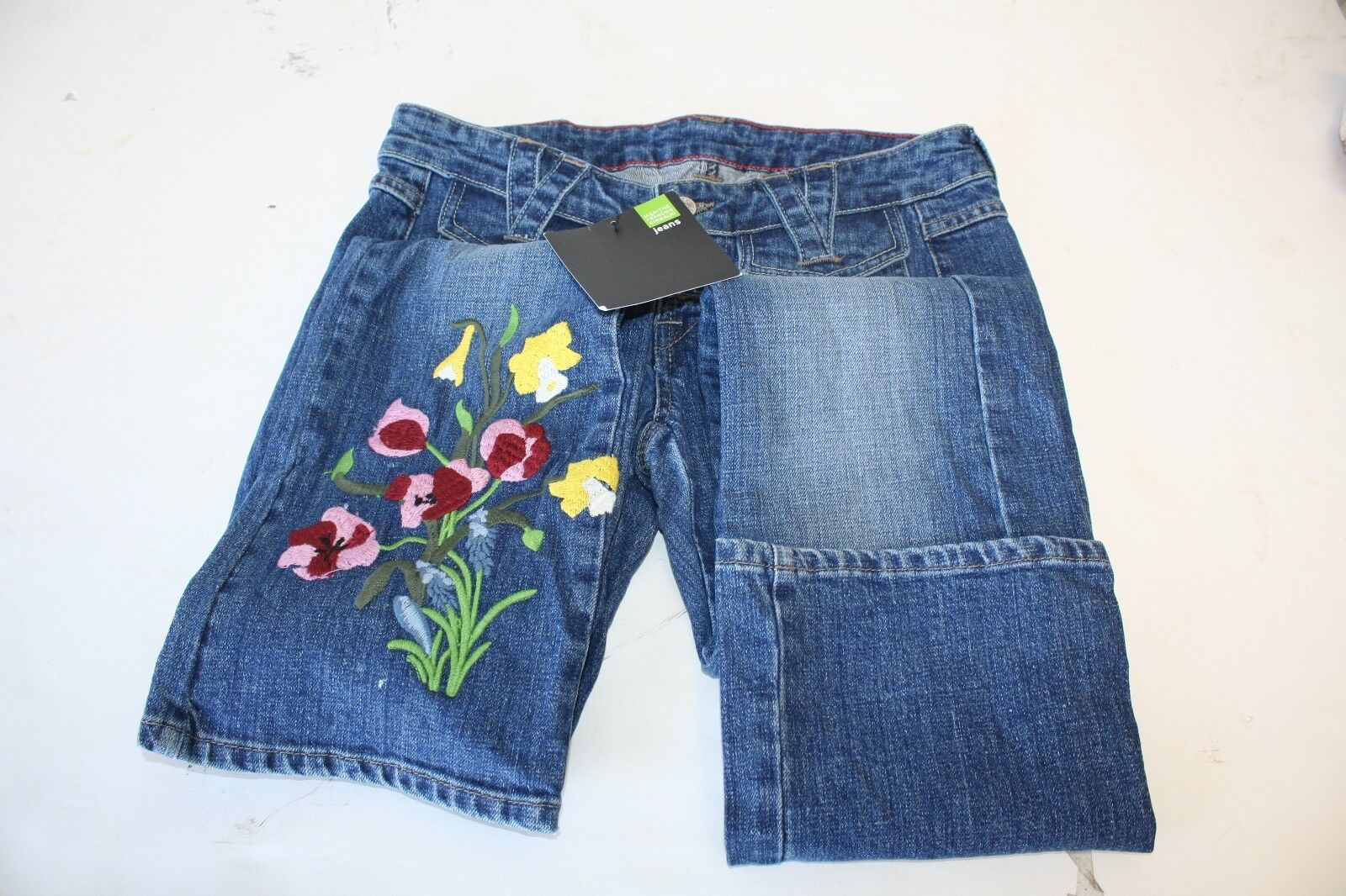 Marithe Francois Girbaud Women's Jeans Samples 30 x 34 Flower Embroidery 2006