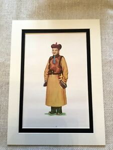 1967 Vintage Stampa Khalkha Mongoli Tradizionale Abito Etnico Folk Moda Costume