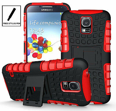 Black Red Heavy Duty Hybrid Protector Cover Case for Samsung Galaxy S5 w/ Stand