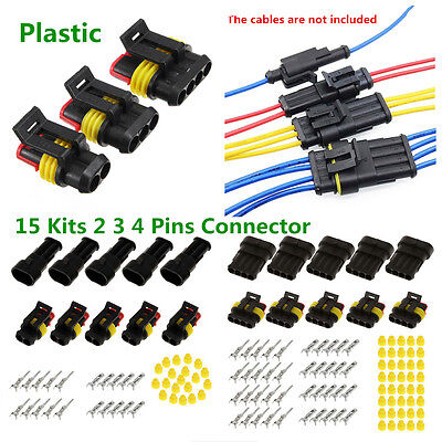 2x 4 Pin Way Waterproof Electrical Wire Connector Plug Auto part Boat Waterproof