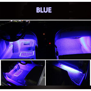 Merveilleux Details About 4x9 12V Car Interior Blue LED Strips Bulbs Light Atmosphere  Decorative Neon Lamp
