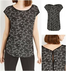 New-Ex-Oasis-Black-Short-Sleeve-Scoop-Neck-Party-Top-10-18-Glitter-Sparkle