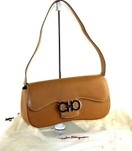 92e43a9aff17 Image is loading Auth-Salvatore-Ferragamo-Ganchini-Logo-Brown-Leather- Shoulder-