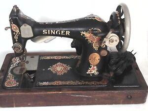 Vintage-1927-Portable-SINGER-Sewing-Machine-Victorian-Wooden-Base-BU7A-4361634