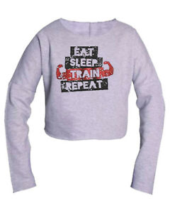 Eat-Sleep-Train-Repeat-Pullover-Body-Building-Poids-Gym-Entrainement-Crop