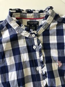 Womens-U-S-Polo-ASSN-Button-Up-Blouse-Check-Blue-White-Frilled-Trim-MEDIUM