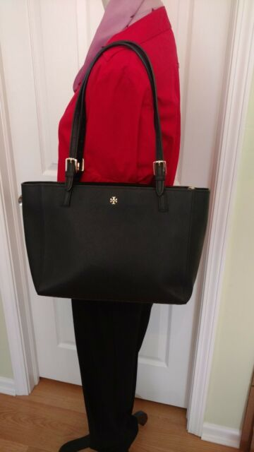 b7e9faf071a6 Tory Burch Small York Buckle Tote in Black Saffiano Leather Authentic MSRP   245