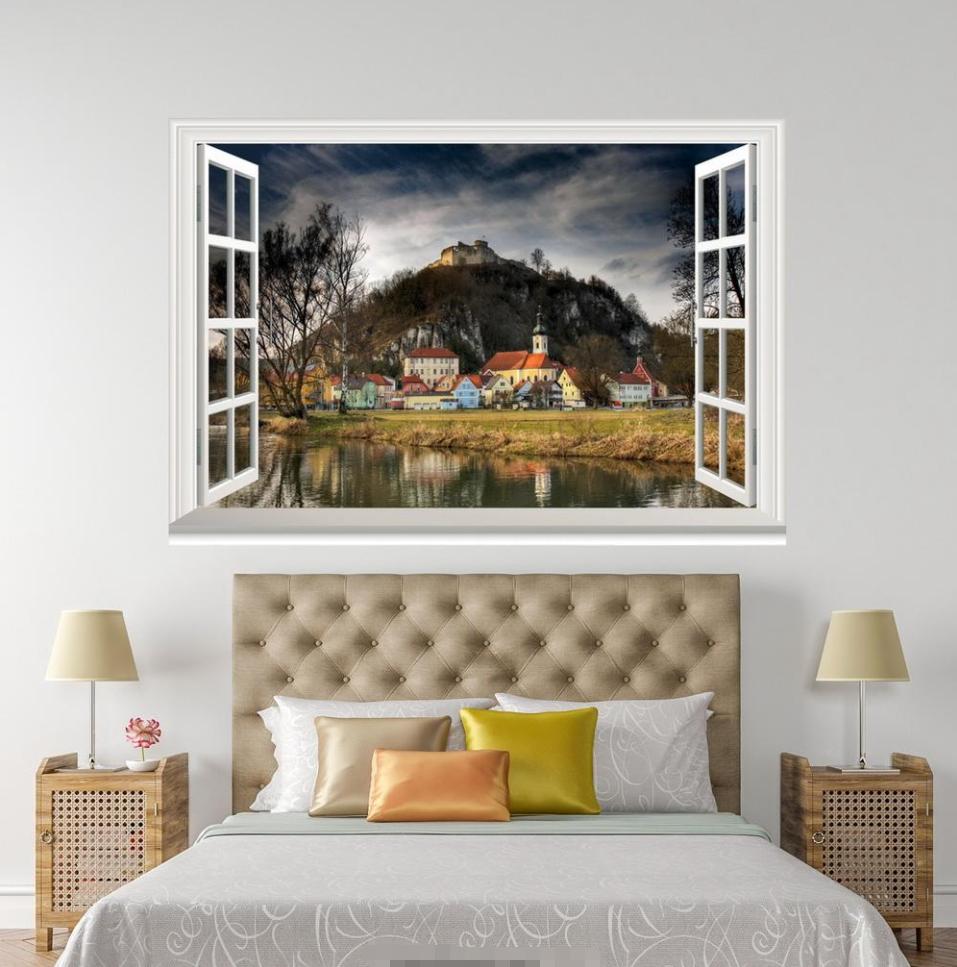 3D Hill Grassland House 18 Open Windows WallPaper Murals Wall Print AJ Jenny