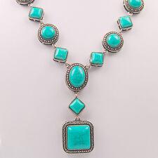 Vintage Tone Square Inlay Turquoise Bib Tibetan Silver Chain Fashion Necklace