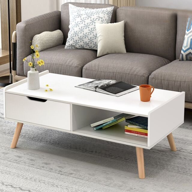 Rectangle Modern Coffee Table Side End W Drawers Living Room Furniture Us