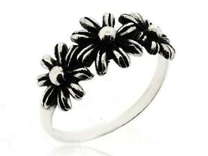 Women Three Leaf Flower Ring 925 Sterling Silver Ring Size 5 12 Nature Jewelry Ebay