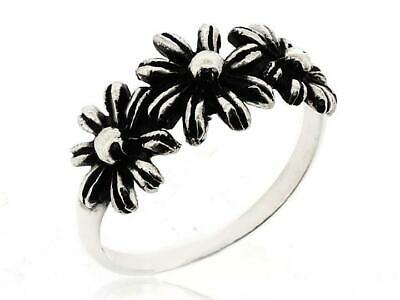 Women Three Leaf Flower Ring 925 Sterling Silver Ring Size