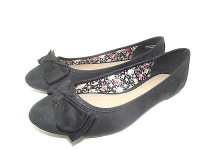 Las NUEVAS SEÑORAS NIÑAS Negro ex Barratts Arco Dolly Zapatos Bailarinas Flats Talle 4 5 6 7 8