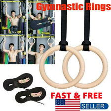 Fitness Wooden Gymnastic Rings with Straps Gym Strength Training Pull Up 400KG
