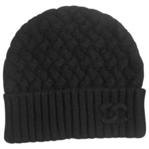 3acaebe62690f Image is loading Chanel-Mens-Black-Knit-Cashmere-Beanie-Hat-One-