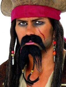 Moustache Barbiche Noire Pirate Des Caraibes Déguisement Adulte Homme Neuf