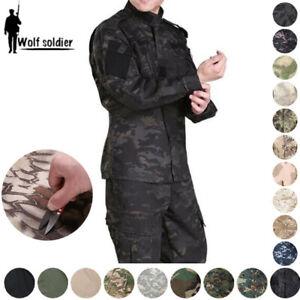 Mens-Army-Military-Tactical-Combat-Jacket-Pants-Sets-SWAT-Camouflage-BDU-Uniform
