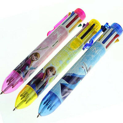 Disney Frozen 8 Inks Multi Colors Automatic Ballpoint Pen Stationery Toy Gift