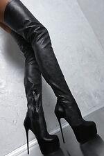 1969 OTK platform boots 17 cm Sexy Black fetish sky overknee high heels 40 39