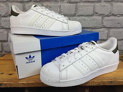 Adidas Superstar señoras UK 4 shelltoe Blanco Originals Cuero Entrenadores RRP £ 70