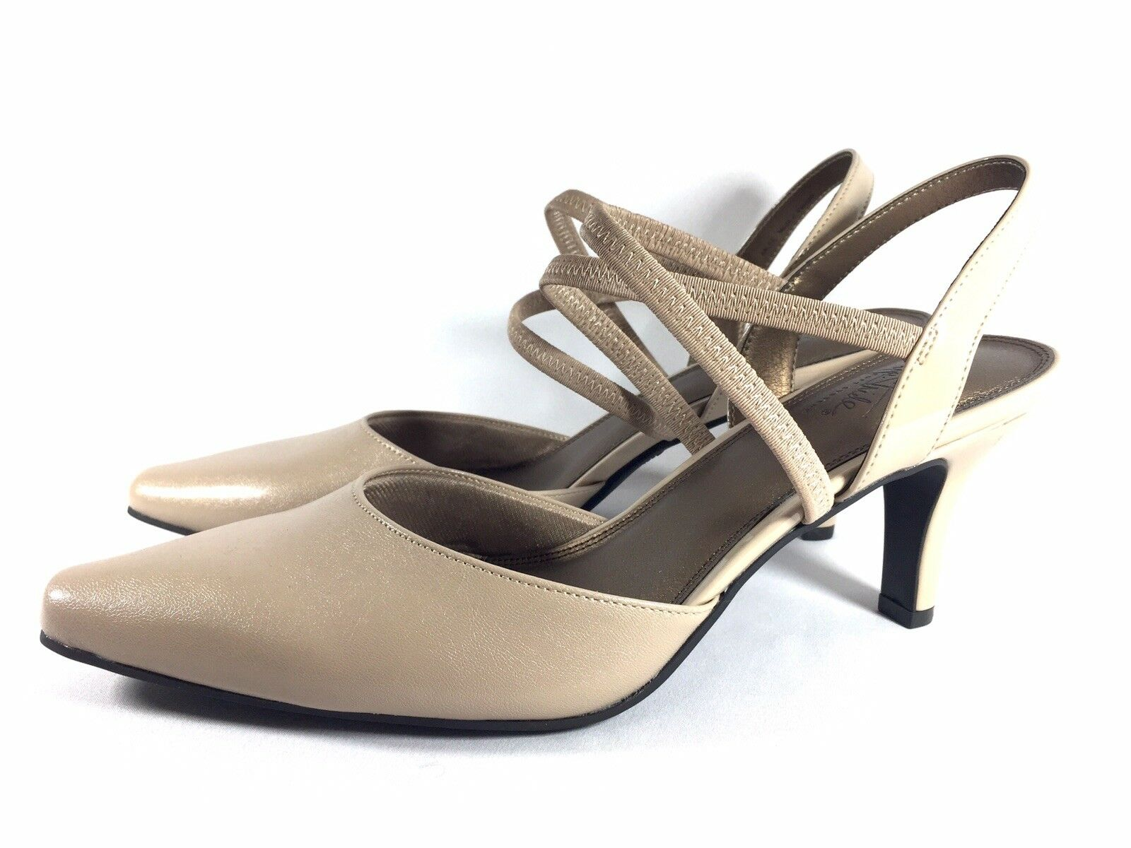 Life Stride Kalee Womens Strappy Nude Pumps Size 12 Heels shoes Pointed Toe New